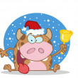 Christmas Cow Ringing A Bell In The Snow — Stock Photo