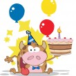 Stock Photo: Birthday Calf Cartoon Character