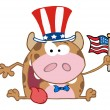 图库照片: Patriotic Calf Cartoon Character