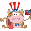 Patriotic Calf Cartoon Character — Lizenzfreies Foto