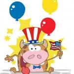 vlastenecké kráva drží americká vlajka — Stock fotografie