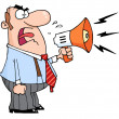 Angry Boss Man Screaming Into Megaphone — Stock Photo