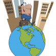 Hispanic Businessman Tall City On Top Of A Globe — Stock Photo #4728122