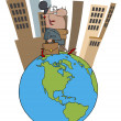 Hispanic Businesswoman Tall City On Top Of A Globe — Stockfoto