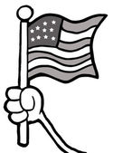 Grayscale Hand Waving An American Flag — Stock Photo
