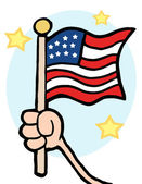 Hand Waving A USA Flag And Waving It — Stock Photo