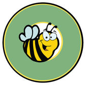 Cartoon Mascot-Bee In Green Circle — Stock Photo
