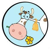 青い円で花をむしゃむしゃファーム牛 — ストック写真