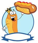 King Hot Dog Cartoon Character Showing XXL Hot Dog — Stock Photo