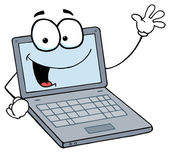 Laptop Guy Waving And Smiling — Stock Photo