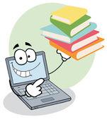 Laptop Guy Holding Books — Stock Photo