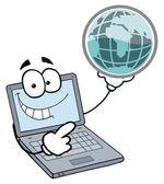 Laptop Guy Holding a Globe — Stock Photo