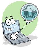 Laptop hält einen globus — Stockfoto