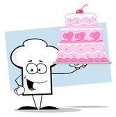 Chef-kok hoed man houden een roze wedding cake — Stockfoto