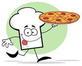 Kocken hatt kille som innehar en pizza — Stockfoto