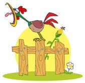 Högt rooster på ett trä staket av en majs stjälk — Stockfoto