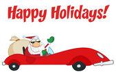 Happy Holidays Greeting With Santa Driving — Stock Photo