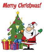 Merry Christmas Greeting With Santa — Stock Photo