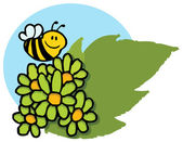 Happy bee vliegen over groene madeliefjes — Stockfoto