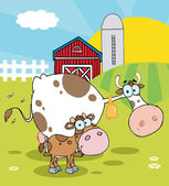 Calf And Cow In A Pasture Near A Barn And Silo — Stock Photo