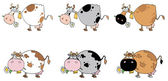 Digital Collage Of Six Cows Cartoon Character — Stock Photo