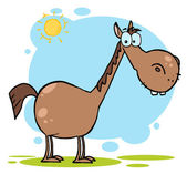 Cartoon Character Brown Horse — Stock Photo