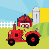 Vintage Red Tractor In Front Of Country Farm — Stock Photo