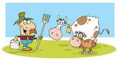 Male Farmer Calf And Cow — Stock Photo