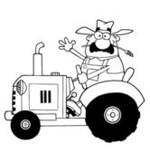 Outlined Farmer Waving And Driving A Tractor — Stock Photo