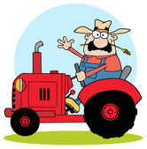 Farmer In Red Tractor Waving A Greeting — Stock Photo