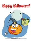 Happy Halloween Greeting Over A Pumpkin — Stock Photo