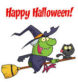Happy Halloween Greeting Over A Green Witch — Stock Photo
