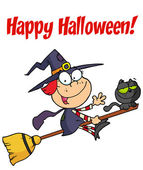 Happy Halloween Greeting Over A Little Witch — Stock Photo