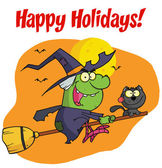 Happy Holidays Greeting Over A Halloween Witch And Cat — Stock Photo