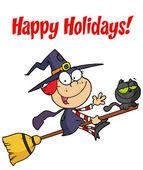 Veselé svátky s pozdravem nad trochu halloween čarodějnice — Stock fotografie