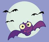 Volare il pipistrello vampiro viola e luna piena — Foto Stock