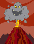 Evil Black Cloud Above An Erupting Volcano — Stock Photo