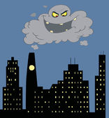 Cartoon Black Cloud Of Smog Trying To Swallow An City — Stock Photo