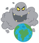 Evil Black Smog Cloud Laughing At Earth — Stock Photo