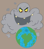Evil Black Cloud Laughing At Earth — Stock Photo