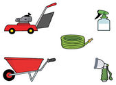 Collage Of A Lawn Mower, Wheel Barrow, Hose, Spray Bottle And Nozzle — Stock Photo