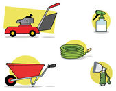 Collage Of A Lawnmower, Wheel Barrow, Hose, Spray Bottle And Nozzle — Stock Photo