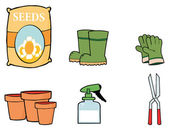 Collage Of Flower Seeds, Boots, Gloves, Pots, A Spray Bottle And Pruners — Stock Photo