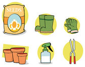 Collage Of Seeds, Boots, Gloves, Pots, A Spray Bottle And Pruners — Stock Photo