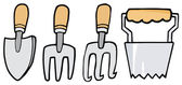 Collage Of Wood Handled Gardening Tools — Stock Photo