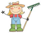 Gardening Girl Waving A Greeting — Stock Photo
