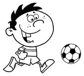 Coloring Page Outline Of A Cartoon Soccer Player Boy Running After A Ball — Stock Photo
