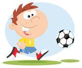 Ragazzo felice calcio con palla — Foto Stock