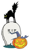 Black Cat And Jack O Lantern On A Tombstone — Stock Photo