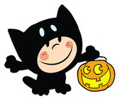 Child Dressed In Cat Suit And Pumpkin In Hand — Stock Photo